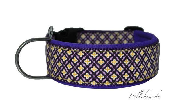 weiches Hundehalsband mit Neopren in lila und gelb