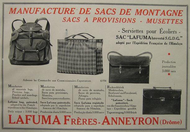 Publicité pour les produits Lafuma - 1937