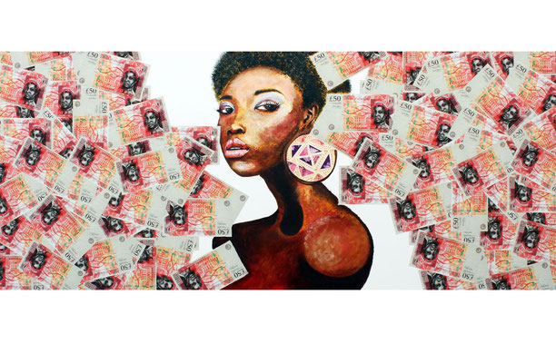 The image depicts a women looking out from an opening of £50 notes. The face on the £50's show a black queen. In the earplug that the woman is wearing, the patterns here are made up from cut up postage stamps of queen Elizabeth II.