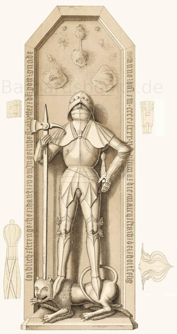 Hans von Ingelheim, gestorben 1480, nach dem Grabmal dieses Ritters aus rotem Sandstein.