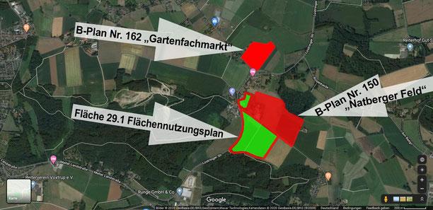 Gerbeflächenplanungen in Natbergen, Quelle Google-Maps