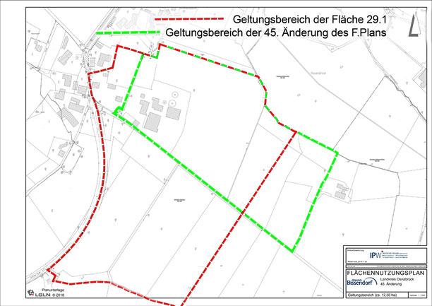 Planzeichnung der 29. und 45. Nutzungsplanänderungen