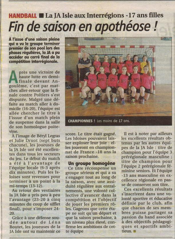 JA Isle Handball (article de journal) : fin de saison en apothéose