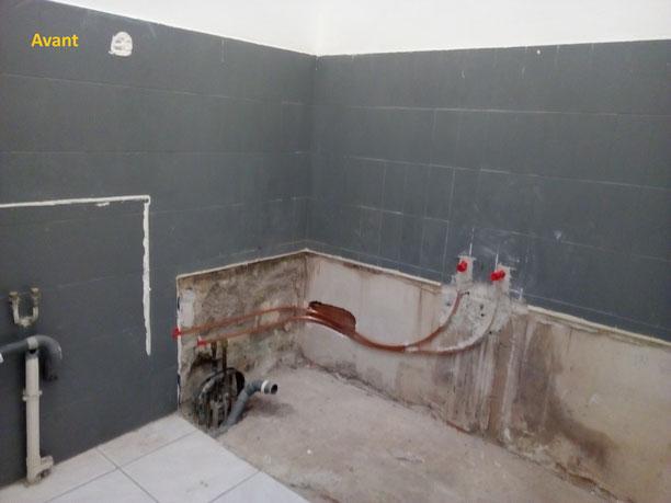 Salle de bain béton ciré, état des lieux avant travaux.