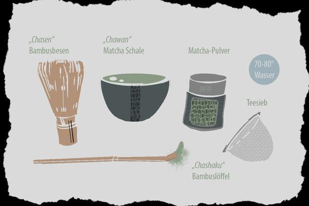 Zubehoer fuer die traditionelle Zubereitung von Matcha-Tee