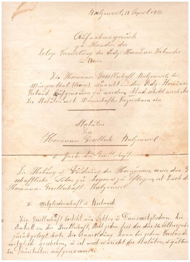 Das Aufnahmegesuch der HG Balzenwil vom 13. April 1921.