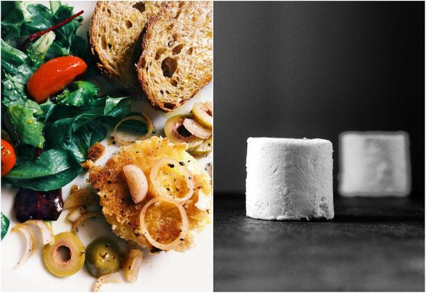 Ziegenkaesetaler mit gruenen Oliven und Bruschetta