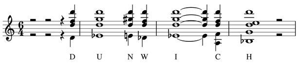 partition notes thème harmonies Dunwich