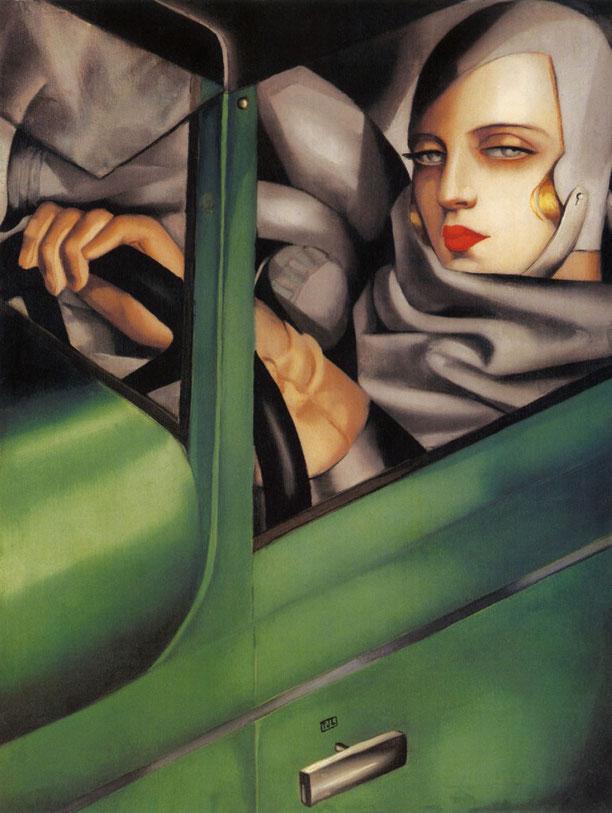 """Tamara de Lempicka, """"Autoritratto su una bugatti verde"""", 1929"""