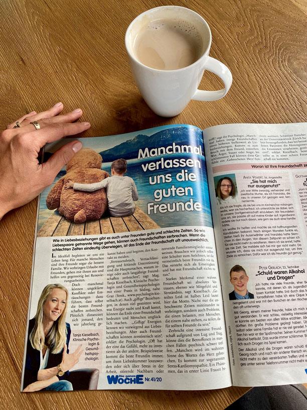 """Interview Tanja Kieselbach mit der """"Die ganze Woche"""" Zeitschrift zum Thema Freunde"""