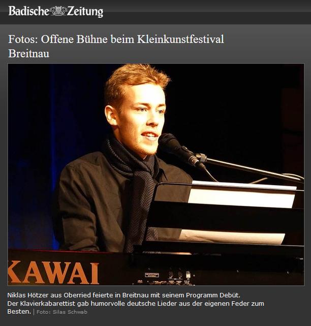 Niklas Hötzer beim Hochschwarzwälder Kleinkunst Festival in Breitnau