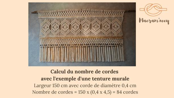 Tenture murale macramé en photo avec le calcul du nombre de cordes