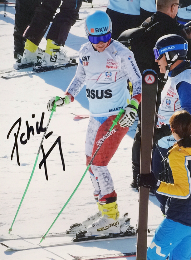 Patrick Küng Switzerland retired, Downhill World Champion 2015, Picture taken during Charity Race at the World Championship St. Moritz, Autograph by Mail