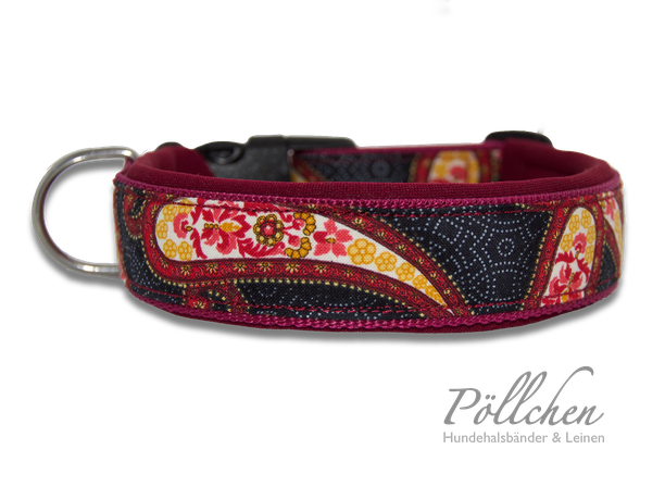 Paisley-Halsband für Hunde extrabreit aus Nylon - auch in Übergrößen XXL und Zugstopp bzw. Schlupfhalsband