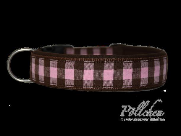 kariertes Hundehalsband aus Nylon mit Steckverschluß oder als Schlupfhalsband
