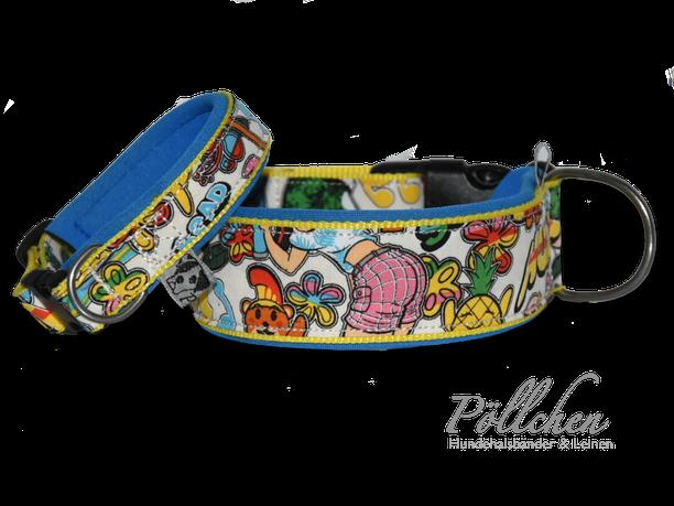 robustes Halsband mit Neopren und Comicfiguren für kleine und große Hunde - bunt und gelb
