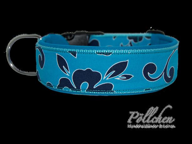 Hawaii Muster Halsband mit Neopren für Hunde mit Steckverschluß oder als Zugstopp-Halsband türkis