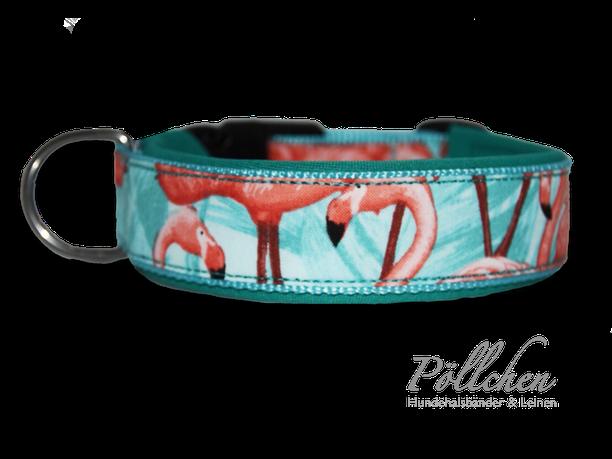 süßes Halsband mit Flamingos in türkis - breit und in Übergröße erhältlich
