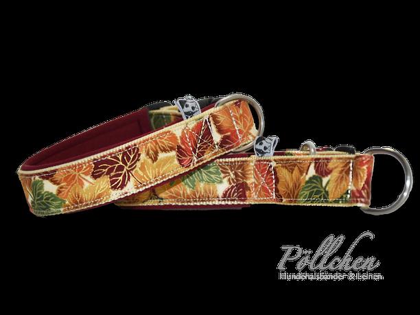 herbstliches Halsband mit Laub in Gold - Hundehalsband Herbst beige, bordeaux