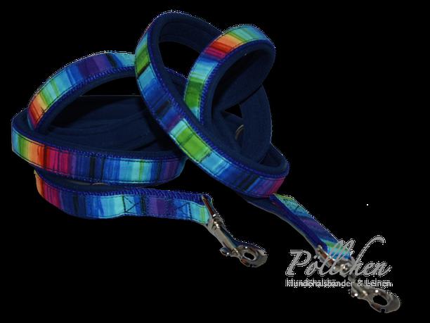 maßgefertigtes Halsband im Regenbogenlook - extra weich dank Neopren