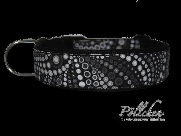 Schwarz graues Halsband mit Blubberblasen Punkten - Steckverschluss Alu oder Acetal Zugstopphalsband