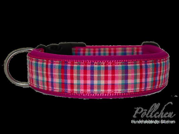 kariertes pinkes Halsband mit Neopren für Hunde mit Steckverschluß