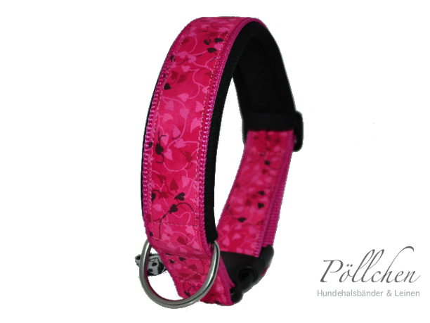 Halsband für Hunde in pink mit Klickverschluss oder Zugstopp mit passender Leine