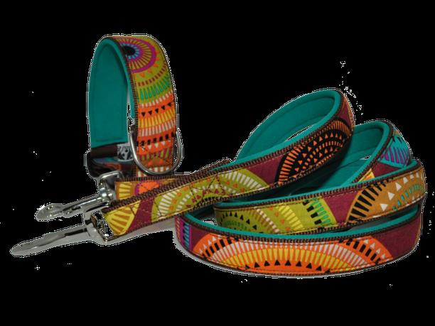 Leine und Halsband auf Maß Indian Style mit Neopren