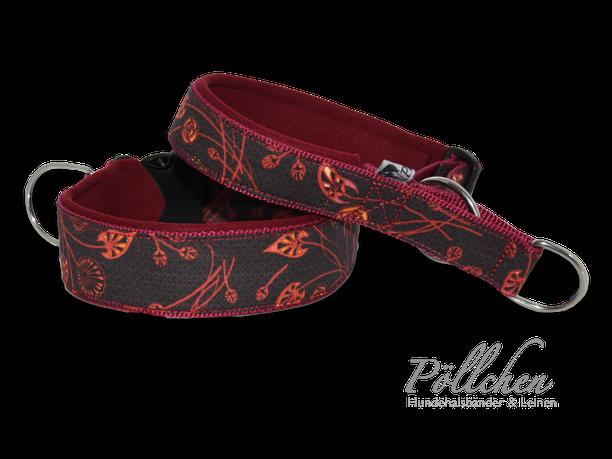 auf Maß gefertigte Halsbänder in herbstlichen Farben - Leine mit Neopren