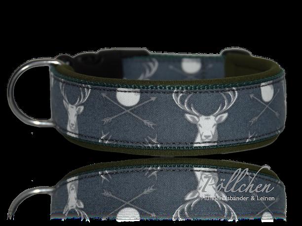 jagdliches Halsband mit Hirschtrophäen - mit Steckverschluss oder als Schlupfhalsband mit passender Leine