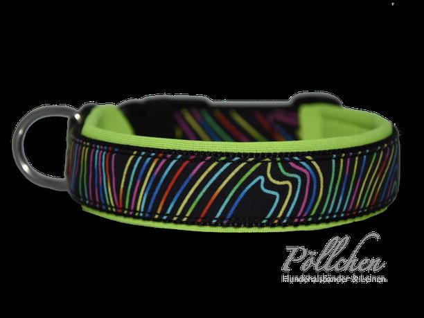 buntes Halsband mit Linien neongelb - auch als Leine und Zugstopphalsband