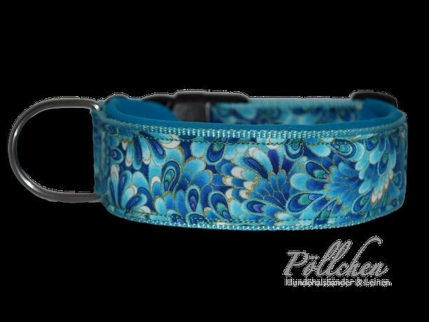 türkis, blau, gold, - extra breit, extra stabil XXL Halsband