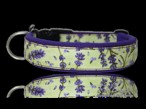 robustes Halsband mit Neopren für kleine und große Hunde - mit Blümchen Lavendel