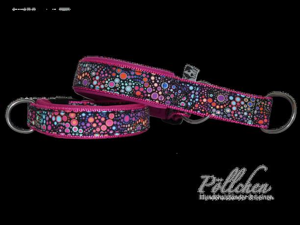 pink, lustiges Blubberblasen Halsband - extra breit mit Neopren unterfüttert - rosa