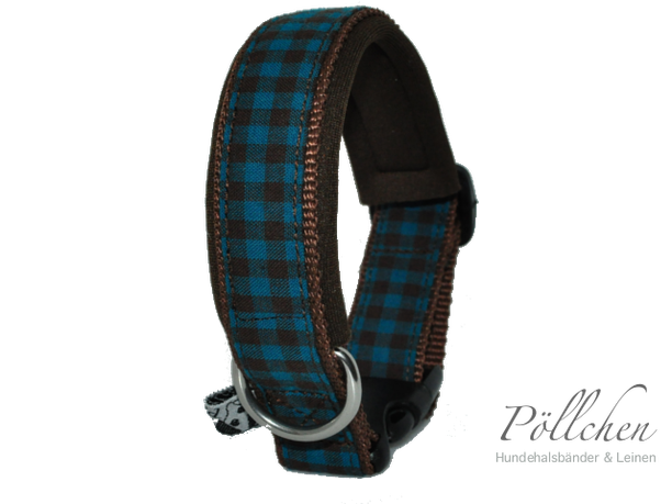 kariertes Halsband für Hunde braun/blau in verschiedenen Größen