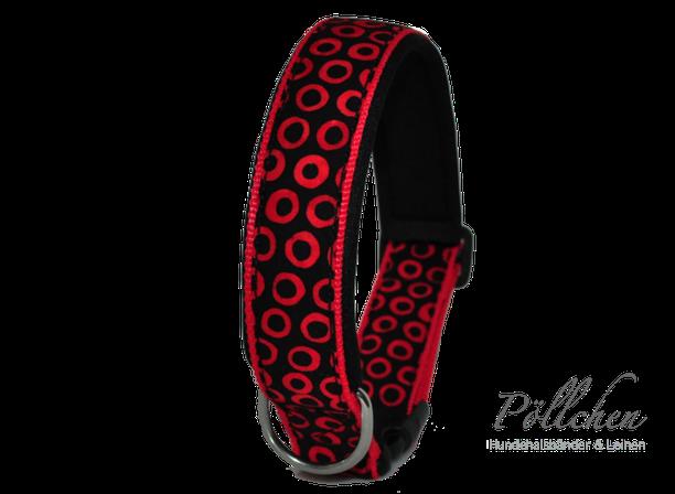 auf Maß gefertigtes Nylonhalsband für Hunde in rot schwarz
