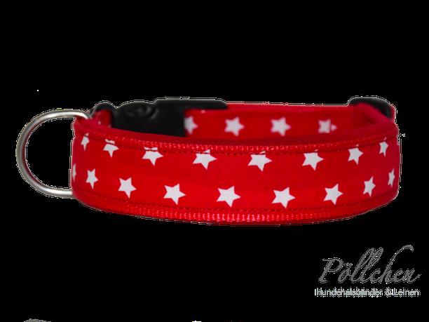 niedliches rotes Halsband mit Sternen extrabreit aus Nylon - auch in Übergrößen XXL und Zugstopp bzw. Schlupfhalsband