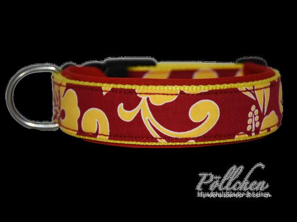 handgefertigtes Halsband für große und kleine Hunde auf Maß mit Neopren rot und gelb