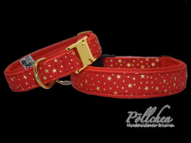 leuchtend rotes, lustiges Blubberblasen Halsband - extra breit mit Neopren unterfüttert