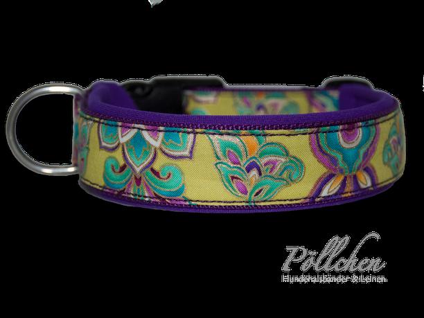 Halsband mit Blumen bunt / goldglänzend / lila und Neoprenpolsterung