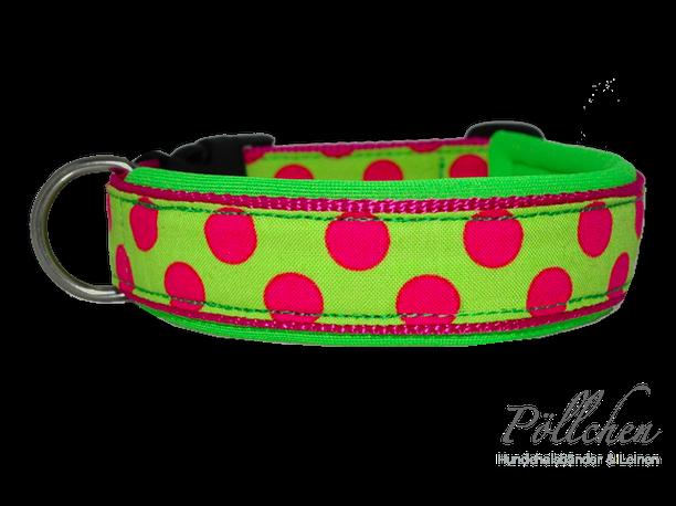 Hundehalsband mit großen Punkten Maßanfertigung und Neopren