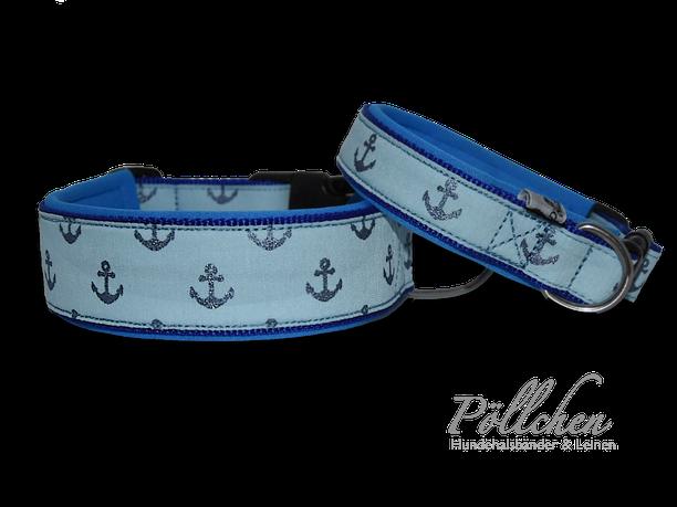 Ankerhalsband blau Glitzer - Anker Zugstopp-Halsband Hundeleine mit Neopren