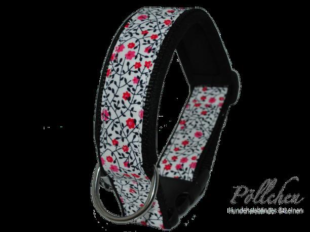 stabiles Hundehalsband aus Nylon mit feinen Blumen