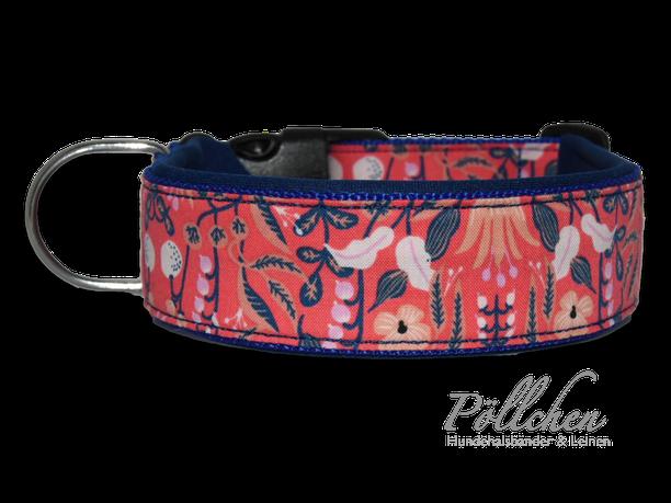 Halsband bunte Blumen - mit Neopren - Zugstopp und Hundeleine Retrohalsband