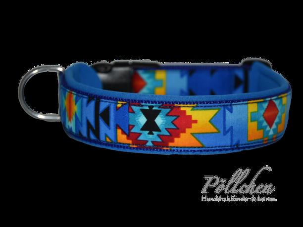 maßgeschneidertes blaues Halsband für Hunde aller Größen mit passender Leine