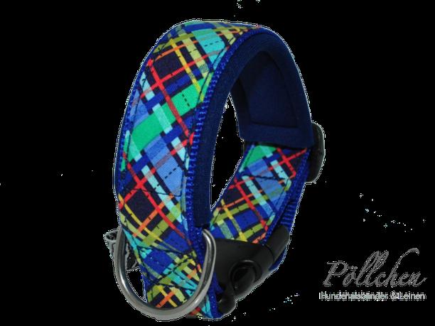 kariertes Halsband in blau und bunt für große und kleine Hunde - Übergröße