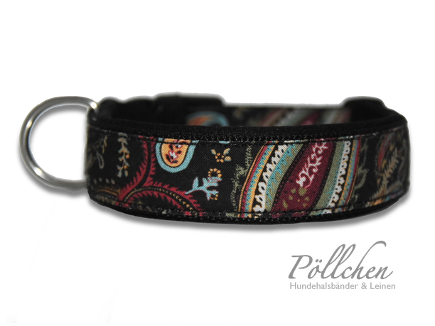 Paisley Halsband in schwarz und weinrot - Steckverschluss Alu oder Acetal Zugstopphalsband