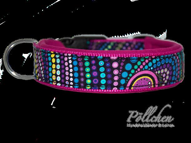 Halsband für Hunde in pink und Punkten mit Klickverschluss oder Zugstopp mit passender Leine