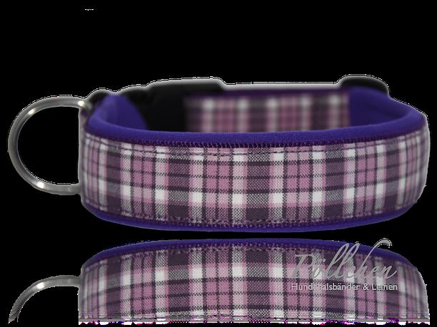 handgefertigtes kariertes Halsband in lila mit stabilem Verschluß