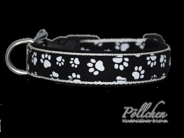 schlichtes Hundehalsband in schwarz und weiß mit Pfötchen für alle Größen